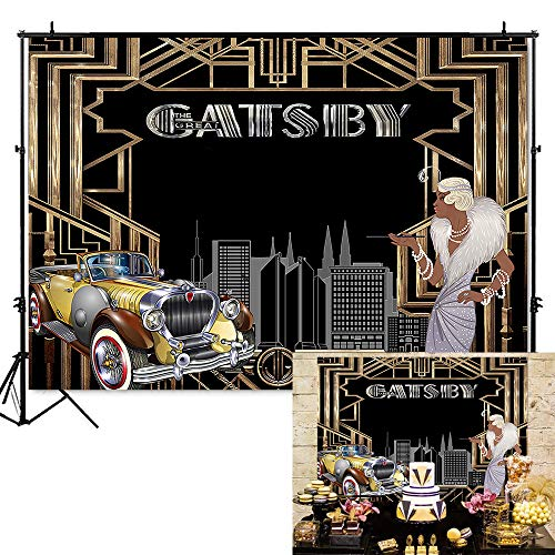 Mehofoto The Great Gatsby Backdrop 1920's Retro Flapper Girl Photography Background 7x5ft Vinyl Gatsby Theme Party Banner Backdrops]()
