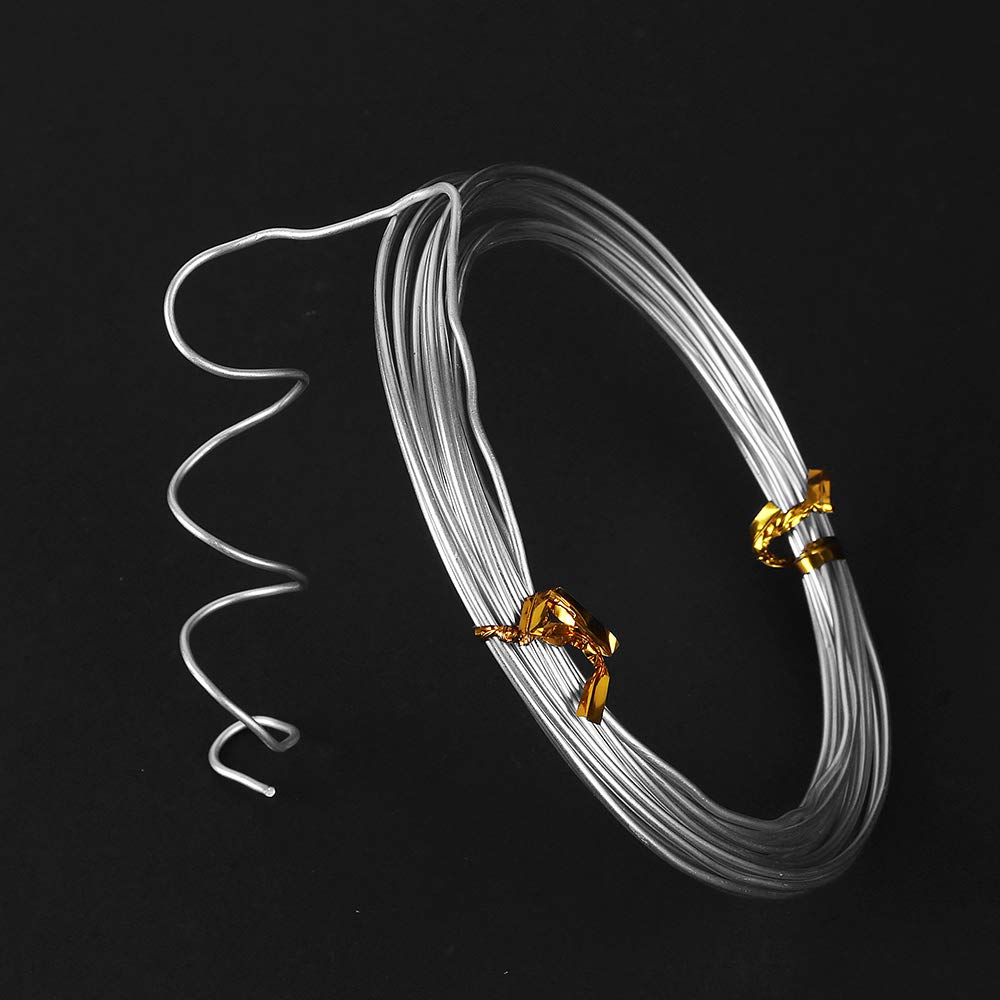 3mm Thick 32.8 Feet Silver Craft Wire,DIY Aluminum Wire,Bendable Metal Wire for Assorted Crafts