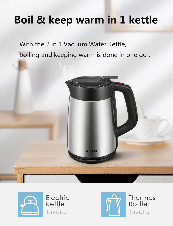 Bouilloire Électrique Thermostat Réglable KIKET 2200W Bouilloire Électriques Inox avec Maintien au Chaud Pendant 6 Heures, 7 températures préréglées