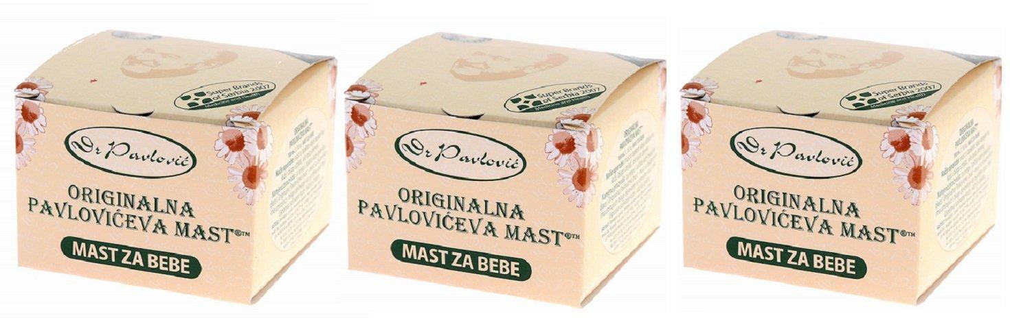 3 x Genuine Dr. Pavlovic's Ointment - Anti Diaper Rash, Dry Skin Moisturizing, Baby Skin Care Ointment with Chamomile 3 x 100 ml Pavlovic Laboratory