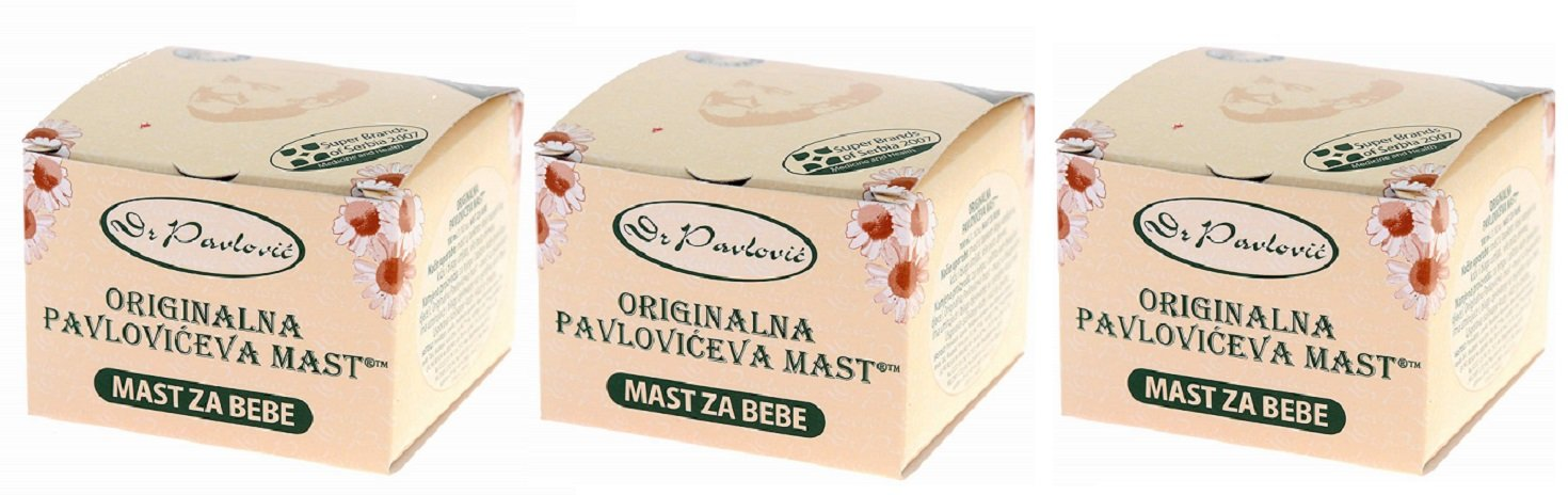 3 x Genuine Dr. Pavlovic's Ointment - Anti Diaper Rash, Dry Skin Moisturizing, Baby Skin Care Ointment with Chamomile 3 x 100 ml