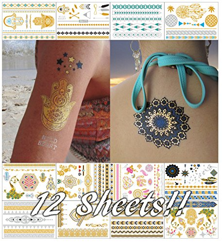 Metallic Temporary Tattoos for Women Teens Girls - 12 Sheets Gold Silver Temporary Tattoos Glitter Shimmer Designs Jewelry Tattoos - 150+ Color Flash Fake Waterproof Tattoo Stickers]()