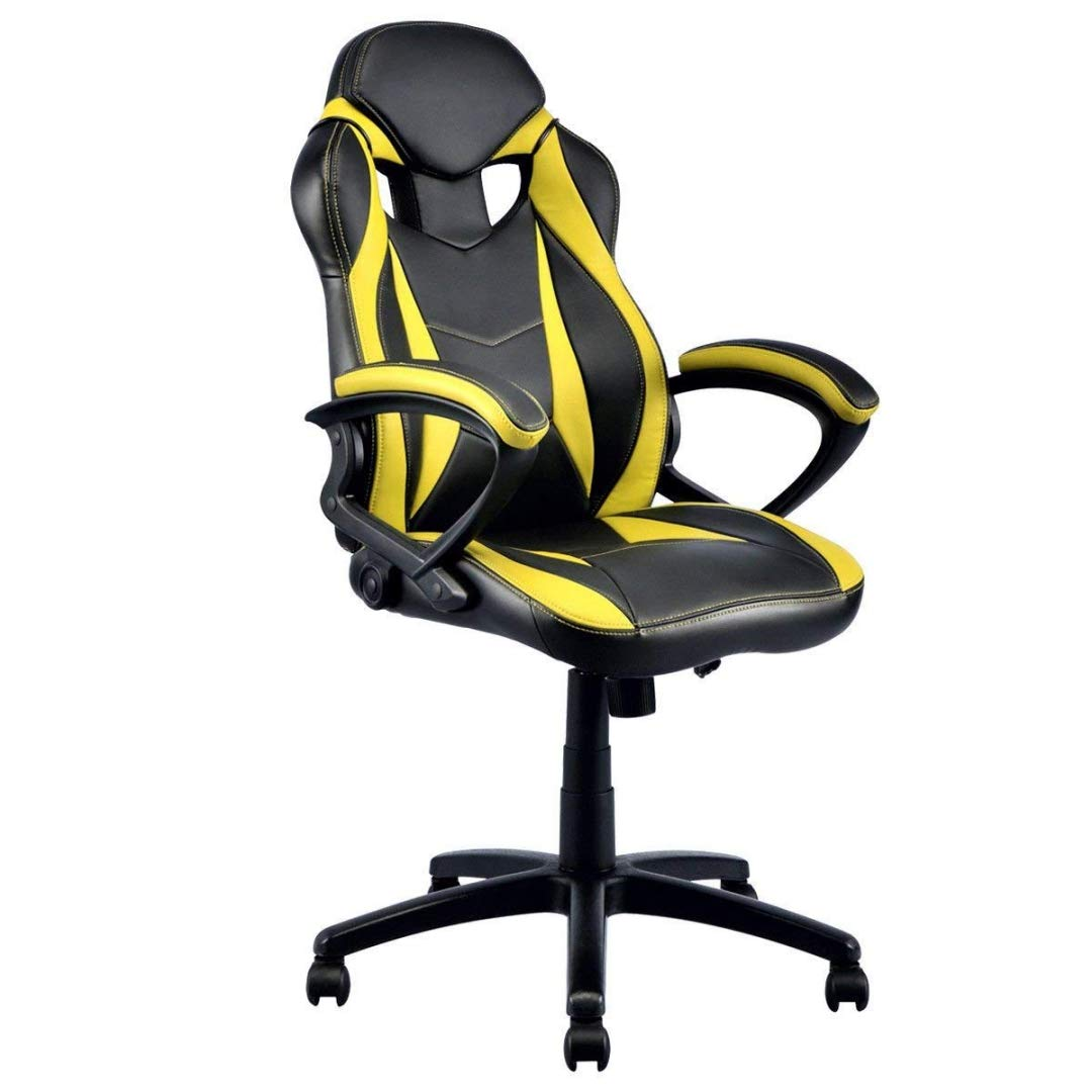 Modern Style High Back Gaming Chairs 360-Degree Swivel Design Desk Task PU Leather Upholstery Thick Padded Seat Posture Support Home Office Furniture - (1) Yellow/Black #2123 by KLS14