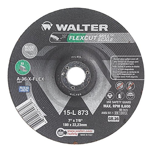Walter Flexcut Mill Scale Premium Performance Flexible Grinding Wheel, Round Hole, Aluminum Oxide, 7
