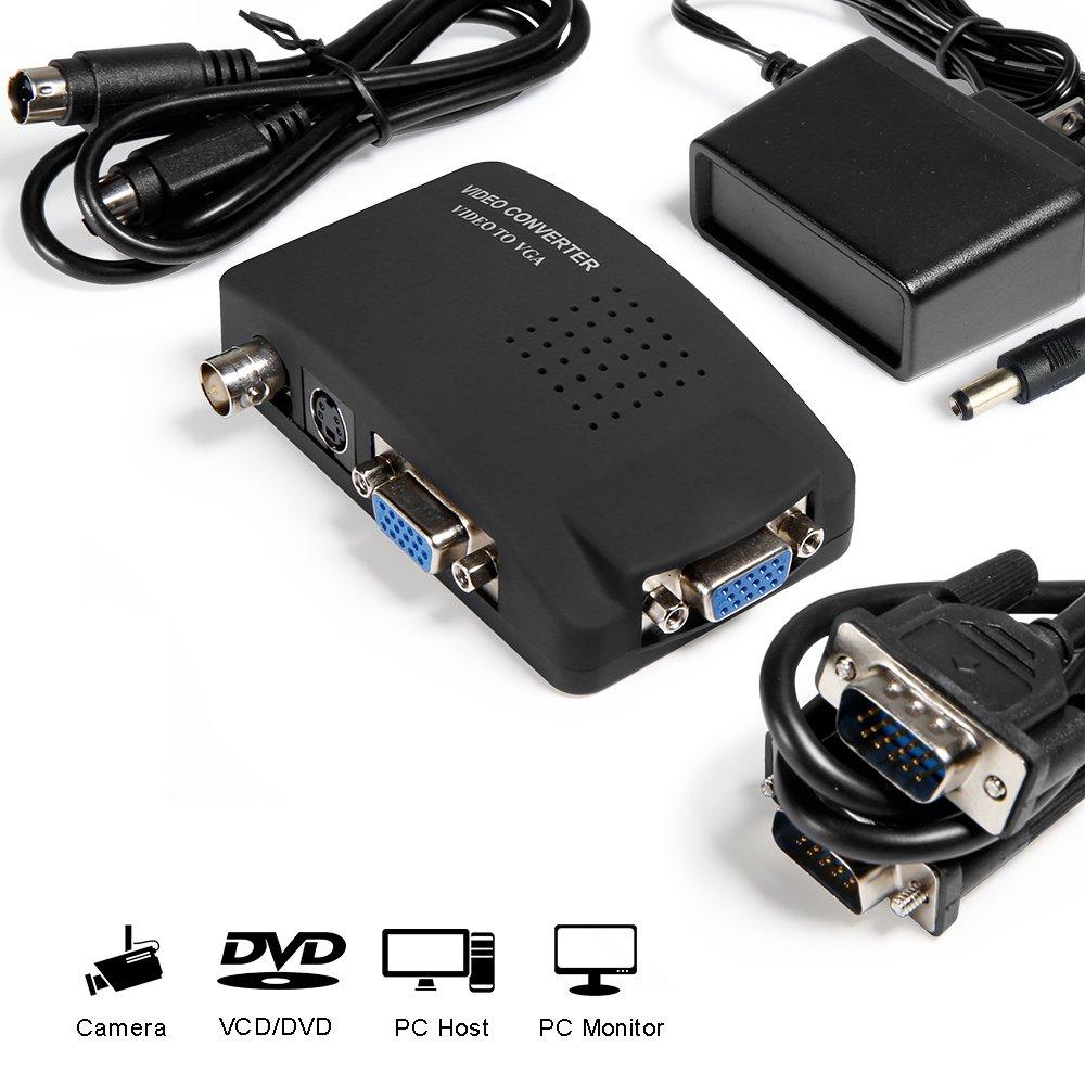 Video Convertitore e Adattatore da AV / S-Video, BNC Video in VGA Video - Adattatore e Convertitore universale PLUG and PLAY MakeTheOne