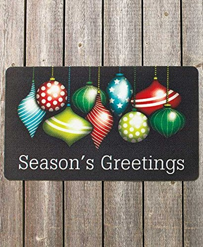 SEASONS GREETINGS Holiday Welcome Mat Outdoor Indoor Festive Christmas Decor Brand NEW