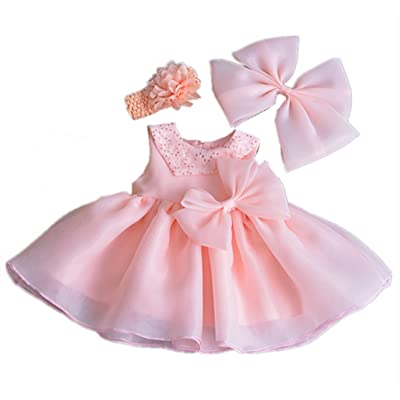 HX Infant Baby Girls Princess Satin Special Occasion Dresses for Wedding Birthday Party with Headband