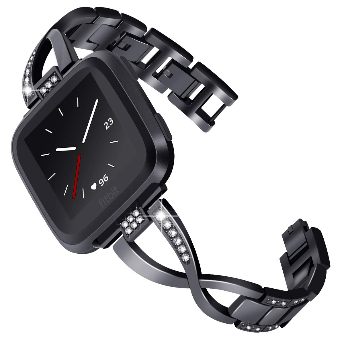 KADES for Fitbit Versa Band for Women, Jewelry Bracelet Metal Replacement Band Compatible for Fitbit Versa Smart Watch (Black)