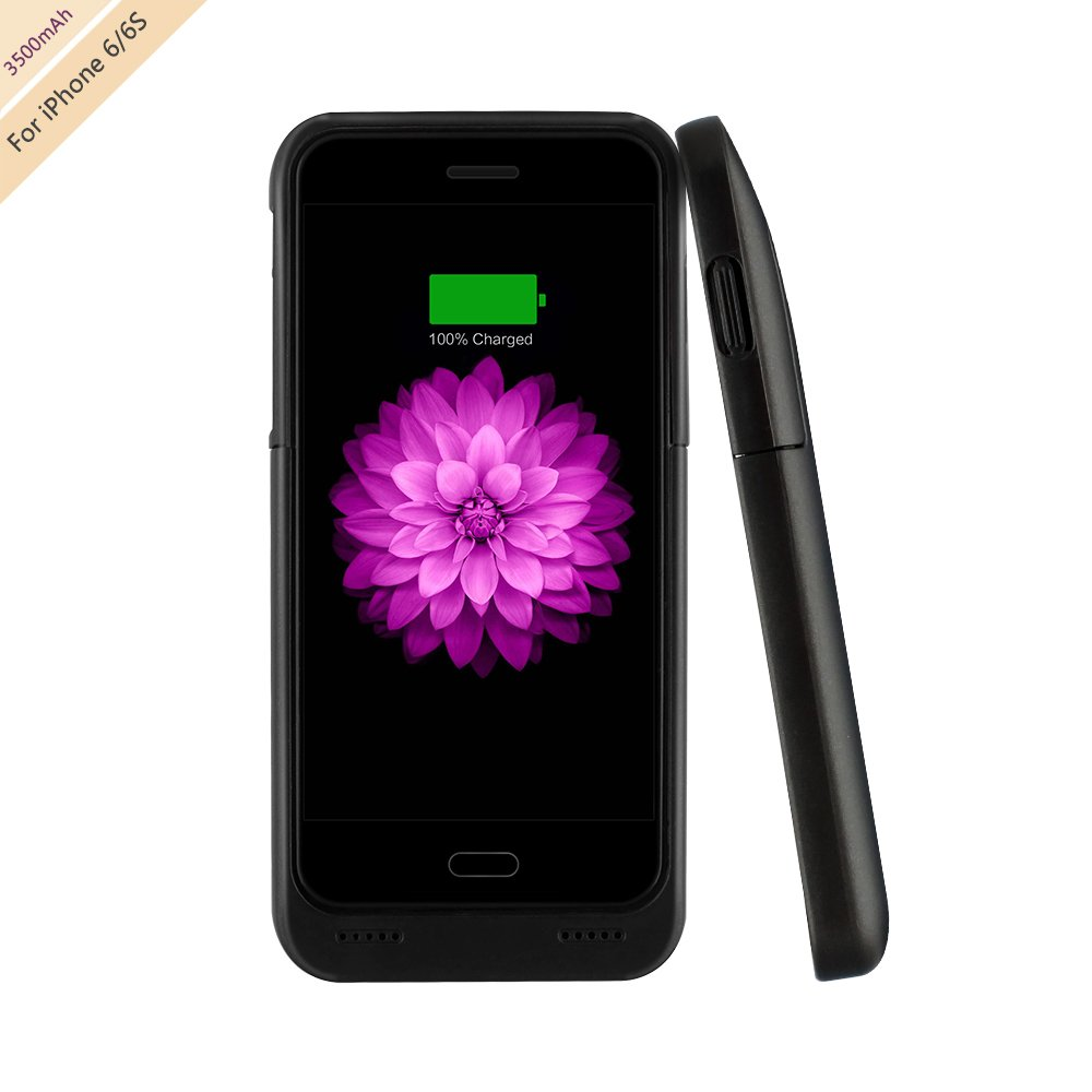For iPhone 6/6s Charger Case, BSWHW 3500mAh 4.7 iPhone 6/6S Portable Battery Case with Pop-out Kickstand Extended Battery Pack Rechargeable Power Protection case Backup Juice Bank , Black