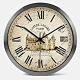 Janning Clocks Vintage timepieces,Clock Creative mute wall clock Living room modern clock Decorative wall charts-B 14inch For Sale