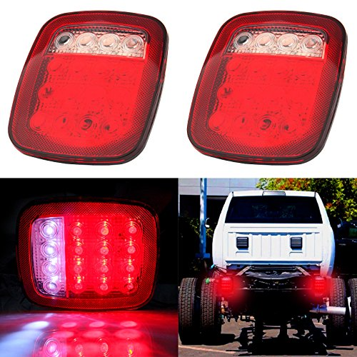 cciyu 2 Pack 76-06 Wrangler CJ YJ TJ LED Tail Lights Jeep TraIler Rubicon Off Road Rear Tail Lights Brake Lamps Class Led Tail Lights Lamps