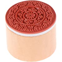 Healifty Round Wooden Rubber Stamps with Lace Pattern for Scrapbooking Card Making Clay (RS-02)