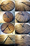 Wall Clock made of worn out wood, Inspired by rustic wine and whiskey barrel tops