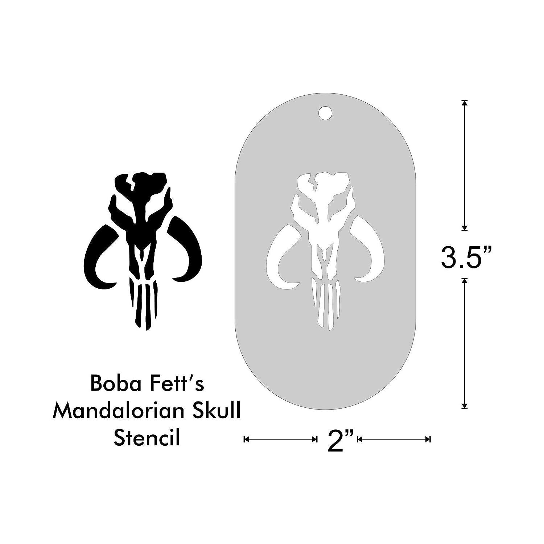 Amazon.com: Stencil - Mandalorian Skull, Medium: Handmade