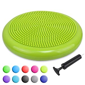 Trideer Inflated Stability Wobble Cushion with Pump(Multiple Colors),Extra Thick Flexible Seating Classroom, Core Balance Disc, Wiggle Seat for Sensory Kids (Office & Home & School)