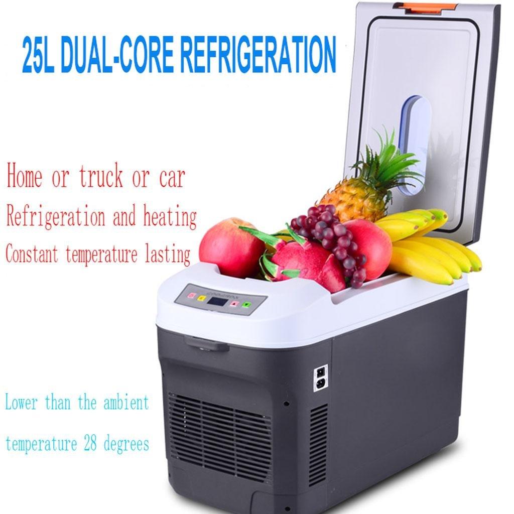 LonVe 25L/12L Dual Nuclear Refrigeration, Auto Kühlschrank Auto Dual-Use Frozen Fresh Mini Kühlschrank 24V für LKW-Kühlung und Heizung, 28  52  26cm