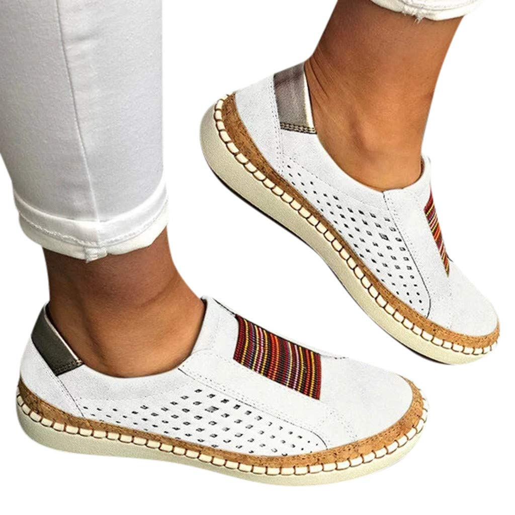Women's Slip-on Sneaker,👍ONLY TOP👍 Womens Flat Shoes Hollow Out Casual Driving Loafers Athletic Running Sneakers White by ONLYTOP_Shoes (Image #4)