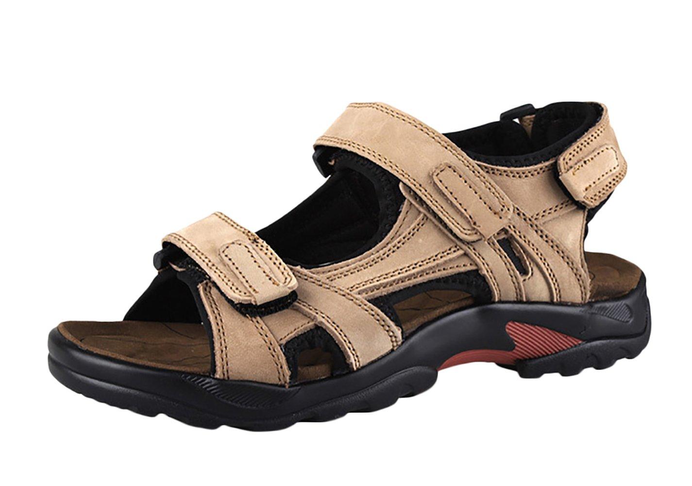 SK Studio Hombre Sandalias Senderismo de Cuero Outdoor Transpirables Zapatos Con Velcro 46 EU|Caqui