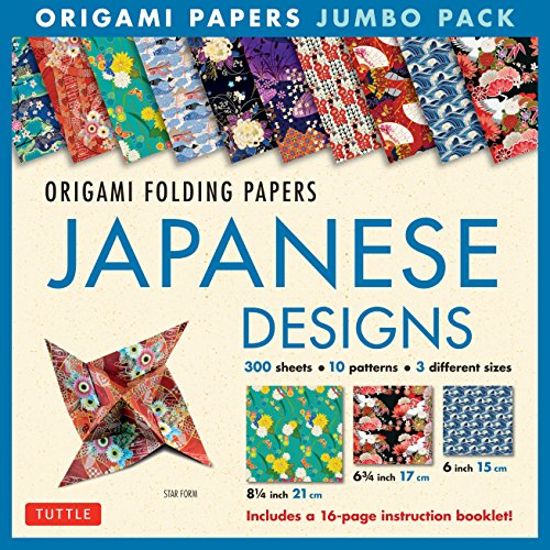 - Origami Folding Papers Jumbo Pack: Japanese Designs: 300 High-Quality Origami Papers in 3 Sizes (6 inch; 6 3/4 inch and 8 1/4 inch) and a 16-page Instructional Origami Book