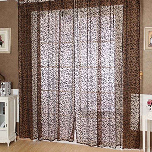 qinshop2017 Willow Tulle Voile Door Lace Window Curtain for Bedroom Living Room