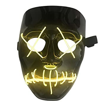 Ruier-hui Halloween Mask LED Light up Purge Mask for Festival Cosplay Halloween Costume
