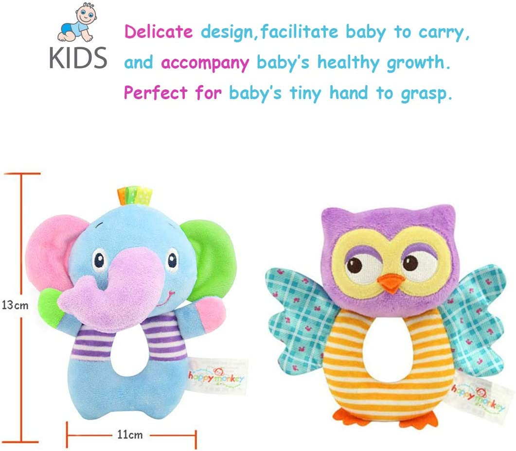 Bloobloomax Baby Soft Hanging Rattle Crinkle Squeaky Toy Car Seat Stroller Toys with Teethers Plush Animal C-Clip Ring for Infant Babies Boys and Girls 3 6 9 to 12 Months 12 Pcs