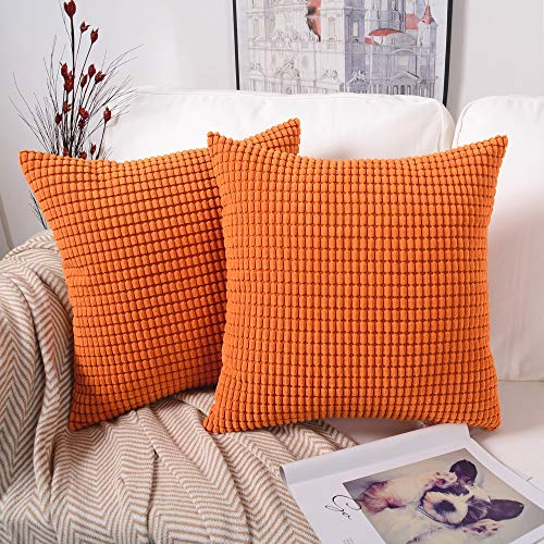 MERNETTE Pack of 2, Corduroy Soft Decorative Square Throw Pillow Cover Cushion Covers Pillowcase, Home Decor Decorations for Sofa Couch Bed Chair 20x20 Inch/50x50 cm (Granules Orange) ()