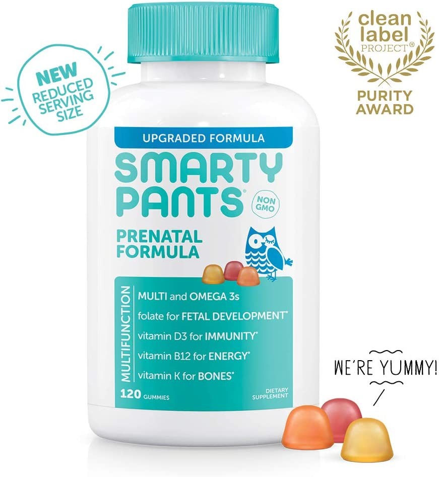 SmartyPants Prenatal Formula Daily Gummy Vitamins Gluten Free, Multivitamin, Folate Methylfolate , Omega 3 Dha Epa Fish Oil, Methyl B12, vitamin D3 30 Day Supply – Packaging May Vary