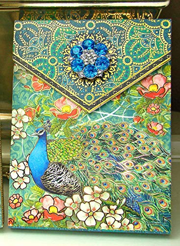 (Punch Studio 5 inch Brooch Notepad ~ Turquoise Peacock Damask Cherry Blossoms & Gold Foil Embellishment 98647)
