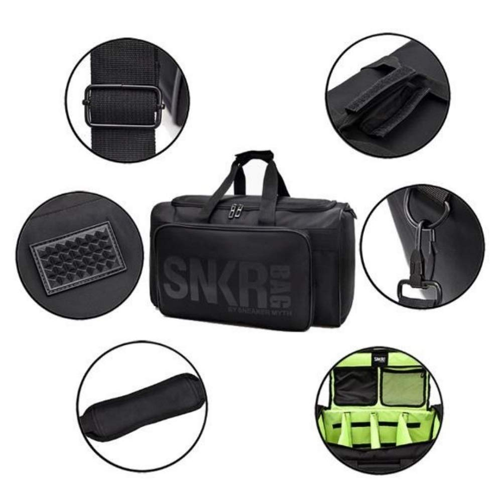 Sneaker Bag - Shoe Protection Travel Bag Water Resistant, Multi-Pocket with Adjustable Inserts and Shoulder Strap, Large Exterior Pocket and Interior Mesh & Zip Compartments UNISEX (Black)