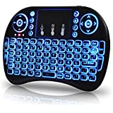 Universal 2.4Ghz USB Wireless Keyboard Mouse for Linux Chrome Mac Windows 10 Computer or Android TV Box - Rechargeable Battery - Backlit, Blue