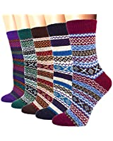 5 Pack Womens Wool Socks Thick Winter Warm Snowflake Crew Socks For Cold Weather