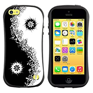 "Pulsar iFace Series Tpu silicona Carcasa Funda Case para Apple iPhone 5C , Negro Yin Yang floral minimalista"""