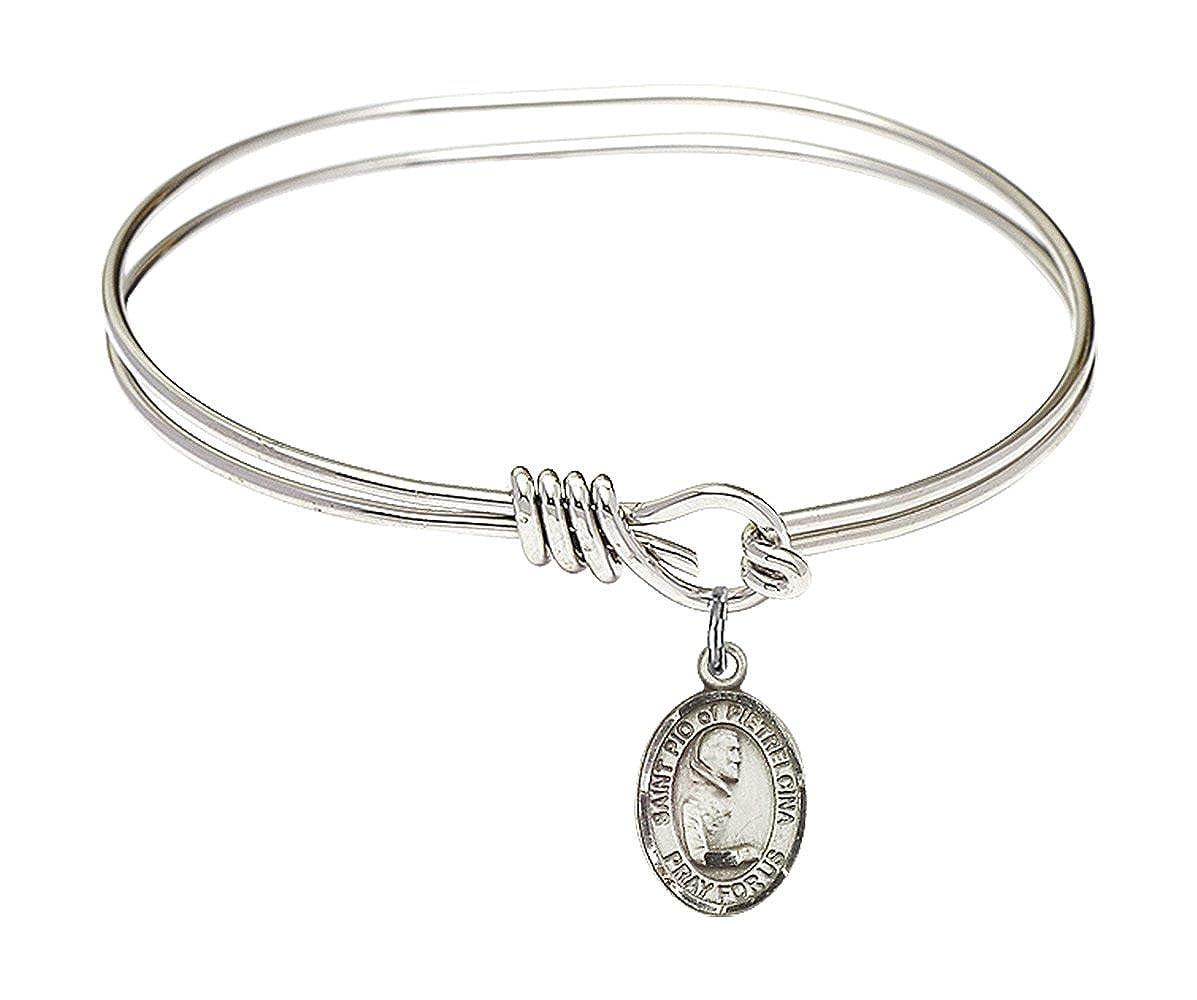 Pio of Pietrelcina in Sterling Silver Bonyak Jewelry Oval Eye Hook Bangle Bracelet w//St