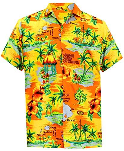La Leela* Bouton de Plage en Bas Manches Courtes Chemise Hawaïenne Aloha Casual 6XL Orang