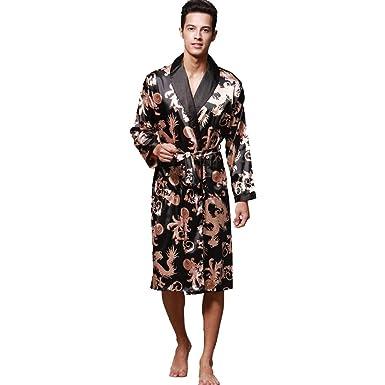 iLXHD Men s Satin Robe Dragon Luxurious Silk Spa Long Sleeve House Kimono  Bathrobe Black 6a525a392