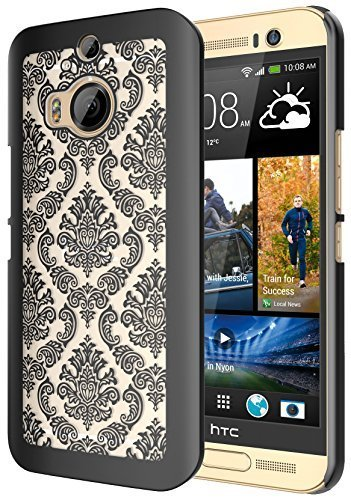 M9 Plus Case, HTC M9 Plus Case, SGM (TM) Damask Design Pattern Rubber Coating Ultra Slim Fit Hard Hybrid Case Cover for HTC M9 Plus + SGM (TM) Microfiber Cleaning - Rubber Cloths