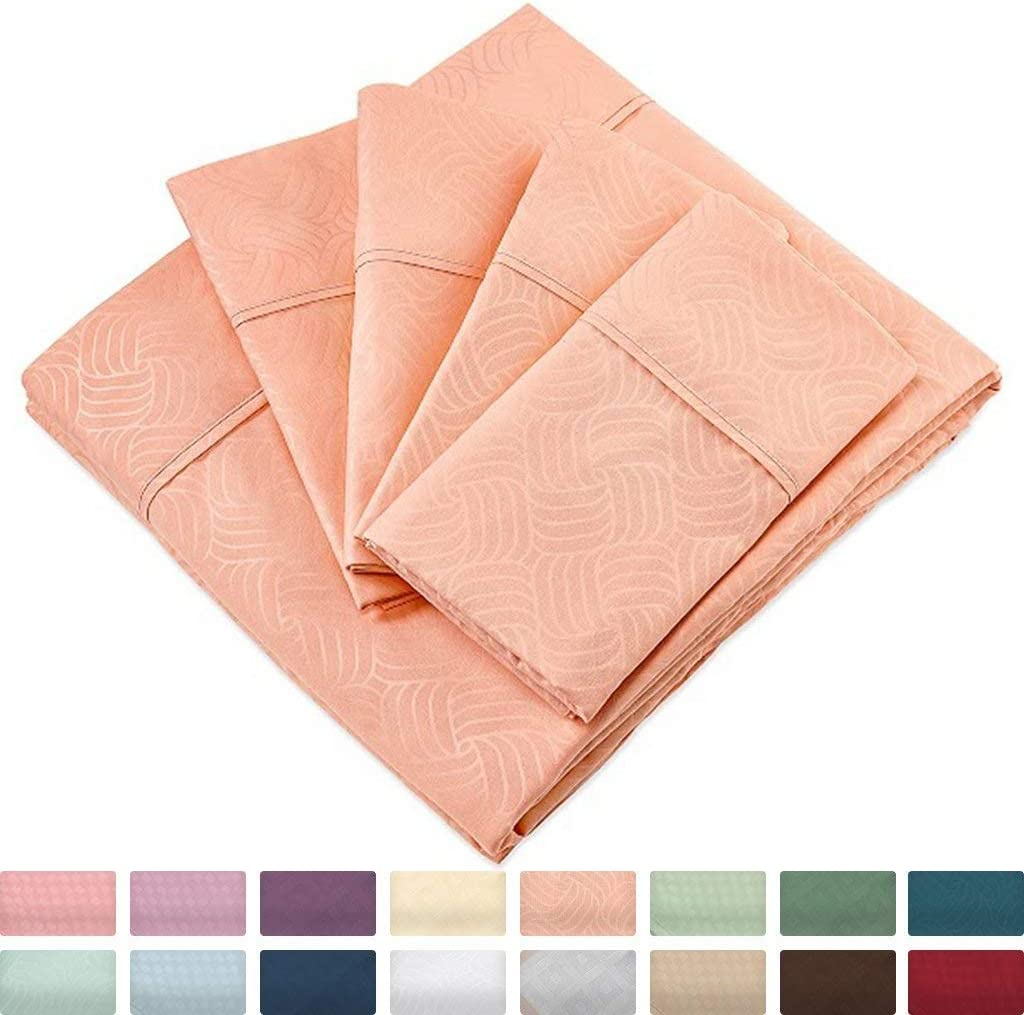 Cosy House Collection Elegant Bed Sheets - Cal King Size, Peach (Wavy) - Luxury 6 Piece Hotel Bedding Set - Beautiful Matte & Shine Patterns - Deep Pocket - 1 Fitted, 1 Flat, 4 Pillowcases