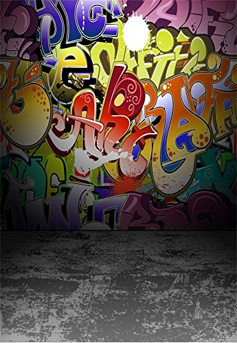 Laeacco 5x7ft Graffiti Wall Photography Background Urban Street Art Painting Photo Background Children Photo Background Colorful Wall Concrete Floor Grey Interior Adult Portrait Background