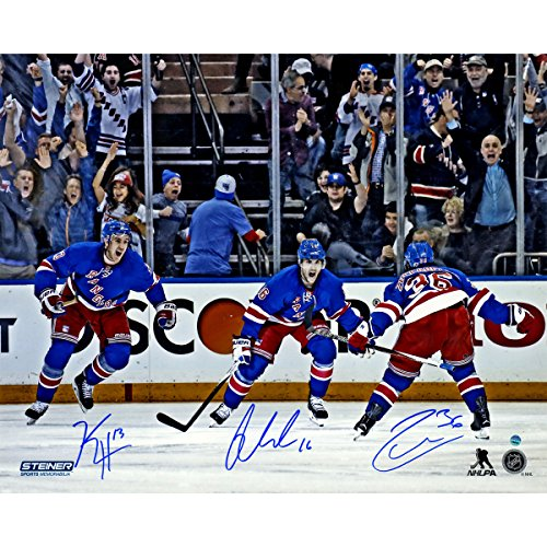 Derick Brassard Mats Zuccarello and Kevin Hayes Celebration Against Pittsburgh Penguins Triple Autographed 16 Inch...