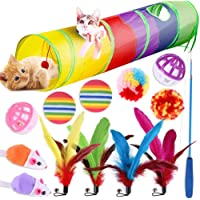 BSTOB Cat Toys, Cat Tunnel Interactive Feather Teaser Wand Ball Toy Set for Kitty and Cats,Kitten Toys for Indoor Cats