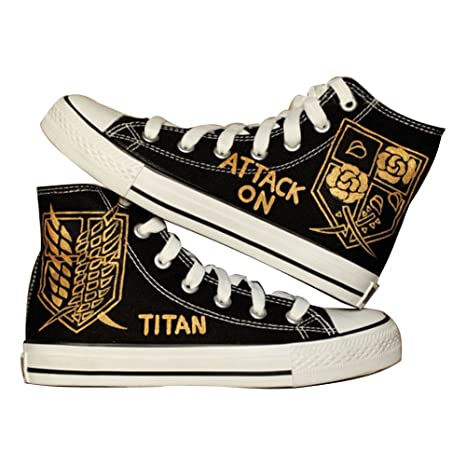 Attack on Titan Shingeki No Kyojin Cosplay Shoes Canvas Shoes Hand-painted Shoes Sneakers Golden Badge