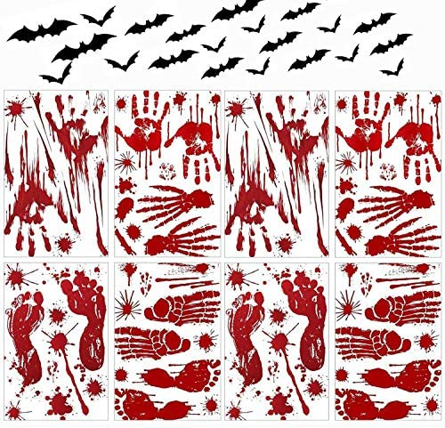 128 Pcs Halloween Party Decoration Decal Zombie Bloody Handprint Footprint Stickers, Scary Window Decals and Weird Bats stickers for Halloween party indoor supplies Wall Door Floor Sticker Clings