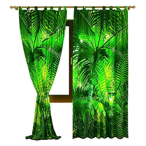 (  IrisUSA Soletex Green Leaves Themed ( 53 x 84 Inches ) 100% Polyester One Panel Transparent Curtain Window Drape for Home Décor (Multicolor))