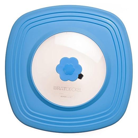 Diseño de flor - fuente de horno para asar tapa azul - cuadrado 32 ...
