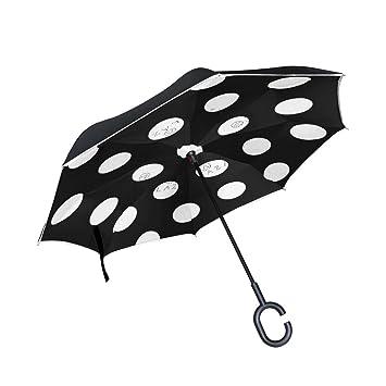 Wamika - Paraguas de Viaje con diseño de Lunares Blancos con Doble Capa Negra Resistente al