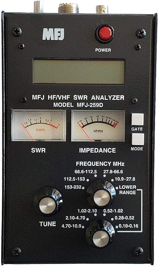 MFJ-259D MFJ259D - Analizador de Antena Original MFJ Enterprises, VHF/220 MHz (100-160 KHz, 280-520 KHz, 53-230 MHz) - Sustituye a MFJ-259C