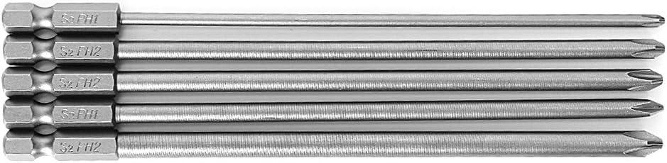 """5 pcs 1//4/"""" 150 mm Long S2 magnétique Croix Tête PH1 électrique PH2 Embout Tournevis"""