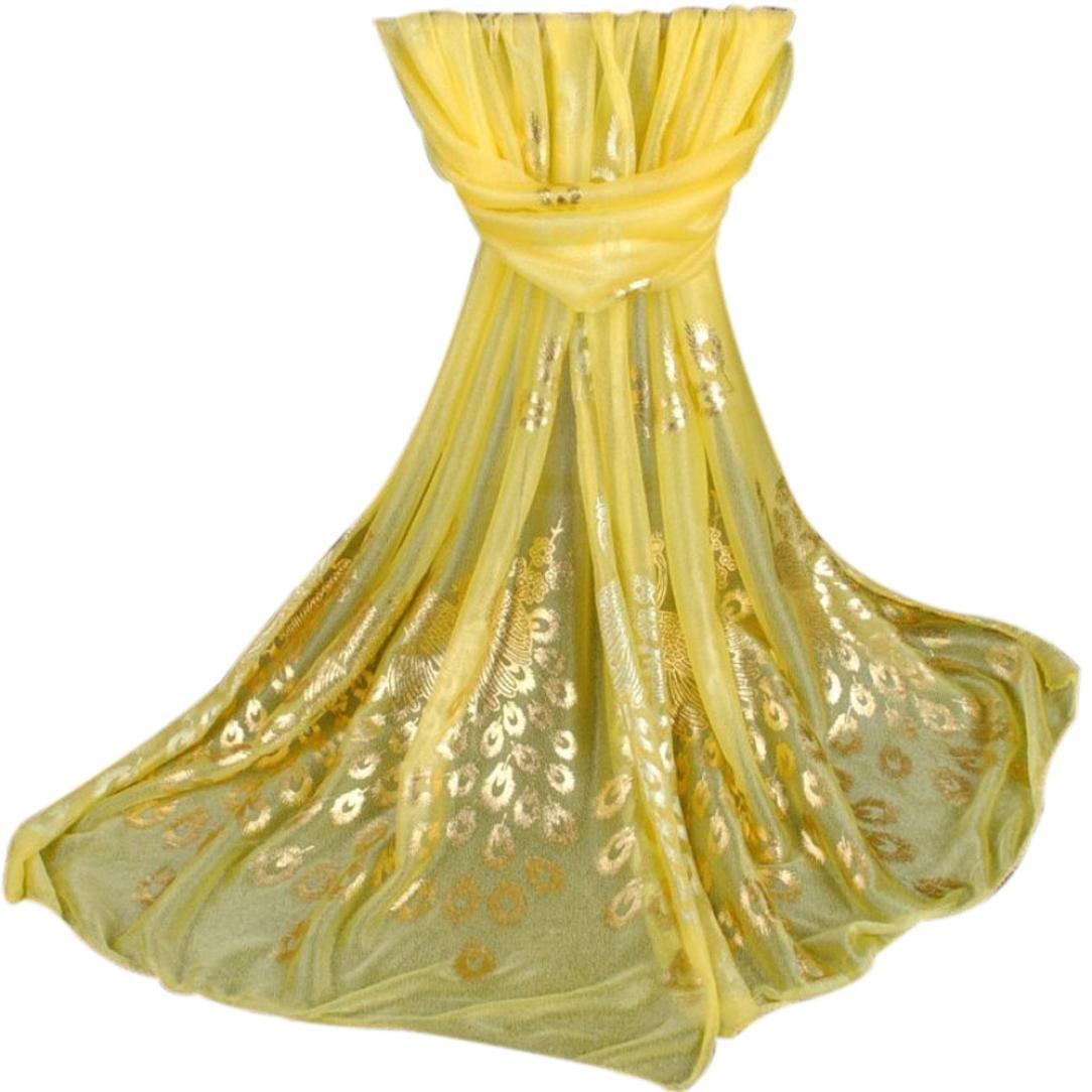 Pocciol Scarf, Women Long Soft Wrap Ladies Shawl Girls Scarves (Yellow)