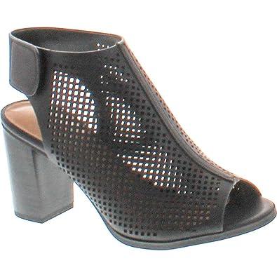 b6f9340caf17 City Classified Women s Roadway Peep Toe Laser Cut Slingback Stacked Heels  Black 6